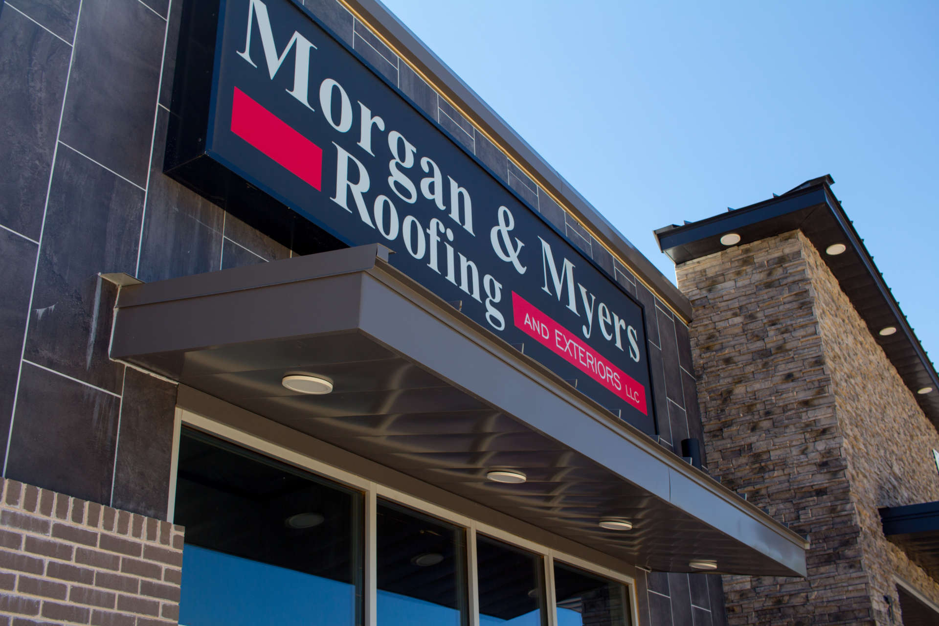 Morgan & Myers Roofing and Exteriors custom awing with lights