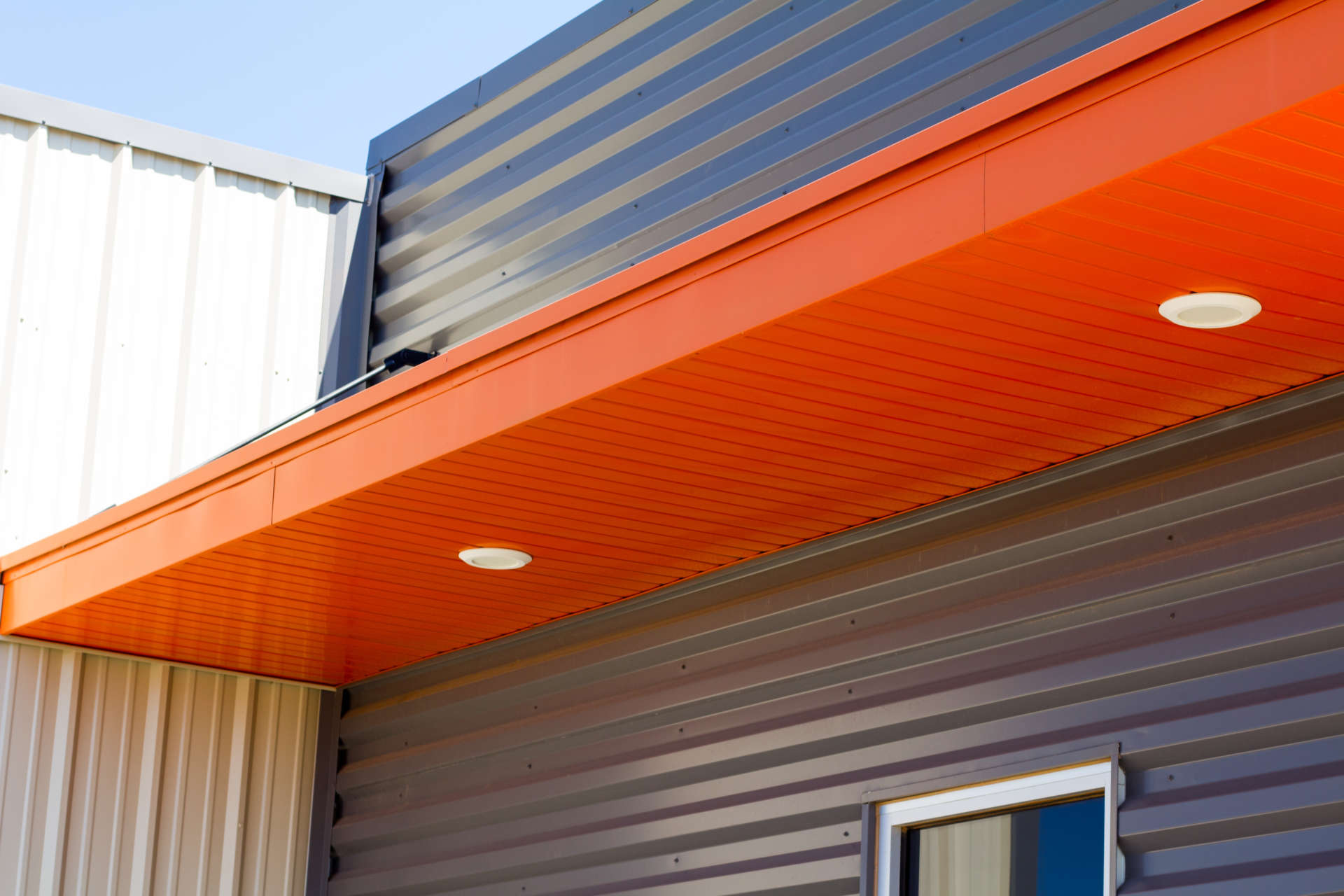 close up of a custom ditch witch awning with lights